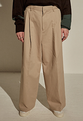 Yan13얀써틴 COTTON SUPER WIDE PANTS_BEIGE