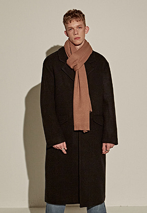 Yan13얀써틴 WOOL OVER STAND LONG COAT_BLACK