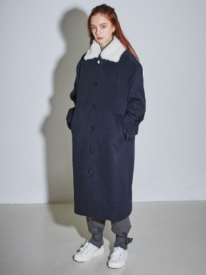 More or Less모어올레스 SHEARING-COLLAR SET WOOL COAT - DARK NAVY