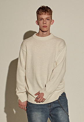 Yan13얀써틴 LAMBS WOOL OVER SWEATER_IVORY
