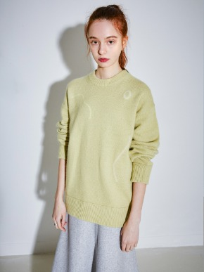 More or Less모어올레스 SIGNATURE DRAWING ANGORA KNIT - LIME