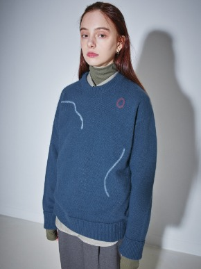 More or Less모어올레스 SIGNATURE DRAWING ANGORA KNIT - SMOKY BLUE