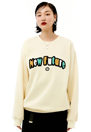INNER CITY AUDIO이너시티오디오 UNISEX NEWFUTURE EMBROIDERY SWEATSHIRT IVORY