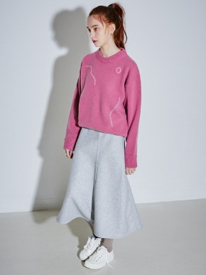 More or Less모어올레스 SIGNATURE DRAWING ANGORA KNIT - ROSE