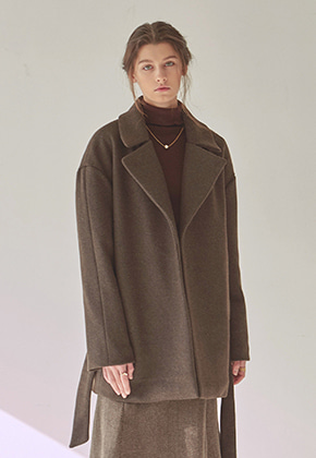 Yan13얀써틴 ROBE LOOSE MIDDLE COAT_BROWN