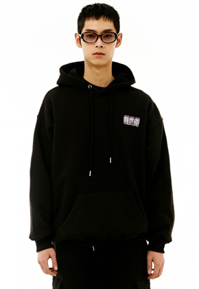 INNER CITY AUDIO이너시티오디오 UNISEX SIGNATURE EMBROIDERY HOODIE BLACK