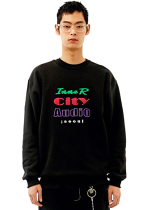 INNER CITY AUDIO이너시티오디오 UNISEX MIX EMBROIDERY SWEATSHIRT BLACK