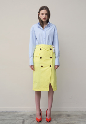 PART OF UNIVERSE파트 오브 유니버스 Trench Wrap Skirt  (Yellow)