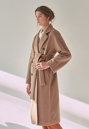 Yan13얀써틴 WOOL ROBE DOUBLE LONG COAT_COCOA