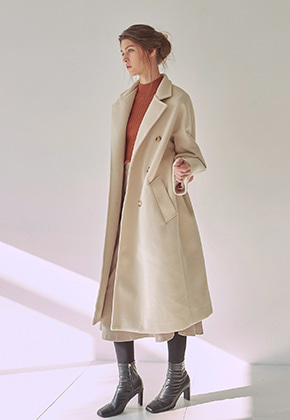 Yan13얀써틴 WOOL ROBE DOUBLE LONG COAT_CREAM