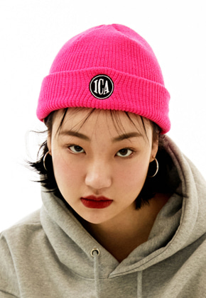 INNER CITY AUDIO이너시티오디오 CIRCLE LOGO EMBROIDERY BEENIE PINK