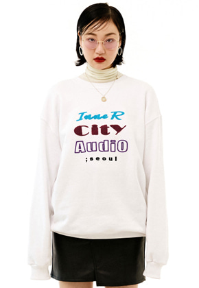 INNER CITY AUDIO이너시티오디오 UNISEX MIX EMBROIDERY SWEATSHIRT WHITE