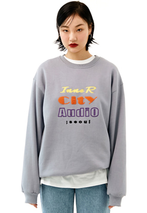 INNER CITY AUDIO이너시티오디오 UNISEX MIX EMBROIDERY SWEATSHIRT LIGHT PURPLE