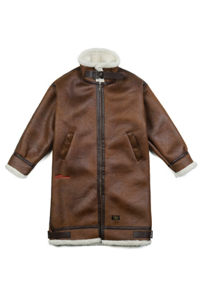 Stigma스티그마 STGM OVERSIZED MOUTON LONG JACKET BROWN