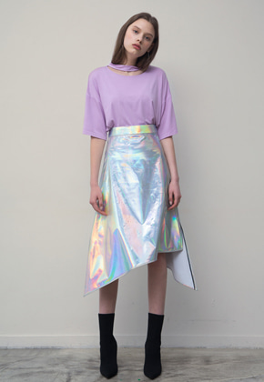 PART OF UNIVERSE파트 오브 유니버스 Asymmetric Skirt (Silver)