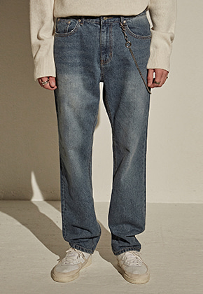 Yan13얀써틴 LONG SEMI WIDE JEAN_DENIM