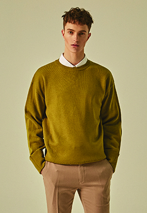 Deans딘스 [DEANS] SOLID STAND ROUND KNIT_OLIVE