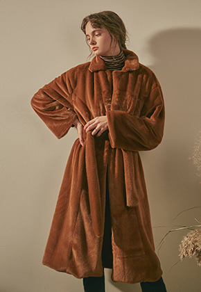 Yan13얀써틴 SOFT FUR ROBE LONG COAT_CAMEL