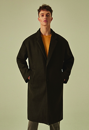 Deans딘스 [DEANS] WOOL SEMI OVER SINGLE COAT_BLACK