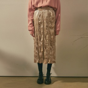 Yan13얀써틴 VELVET PLEATS LONG SKT_BEIGE