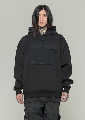 De-Nage드네이지 Utility Washing Hoodies BLACK