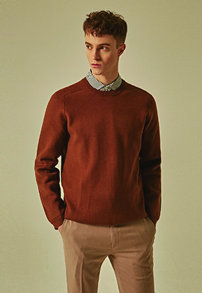 Deans딘스 [DEANS] RAGLAN SOLID OVER KNIT_BROWN