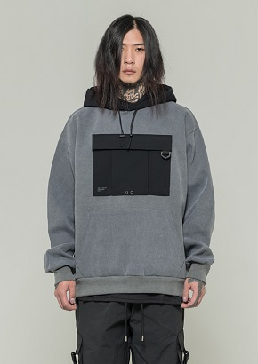 De-Nage드네이지 Utility Washing Hoodies GRAY