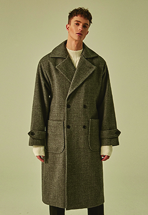 Deans딘스 [DEANS] WIDE LAPEL DOUBLE WOOL COAT_CHARCOAL