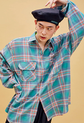 NEONMOON네온문 NEONDUST. 19SP CHECK SHIRT - GREEN