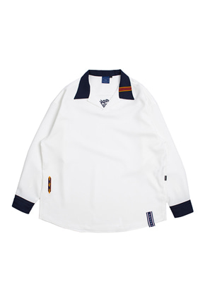 Romantic Crown로맨틱크라운 E.D.V Open Collar Shirt_White