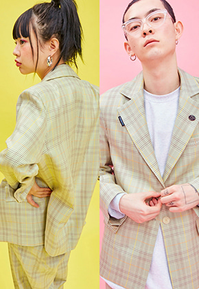 NEONMOON네온문 NEONMOON 19SP CHECK JACKET - GREEN
