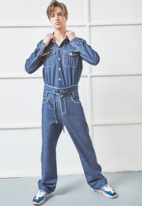 NOHANT노앙 UNISEX UNIFORM DENIM JUMPSUIT BLUE