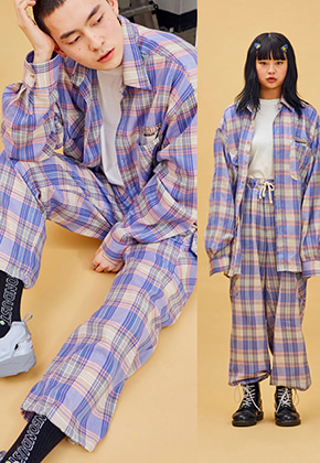 NEONMOON네온문 NEONDUST. 19SP CHECK PANTS - PURPLE PINK