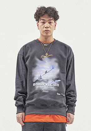 RDVZ OBSERVATION SWEAT TOP CHARCOAL