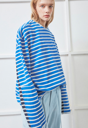 NOHANT노앙 DOUBLE STRIPED LONG SLEEVE T-SHIRT BLUE