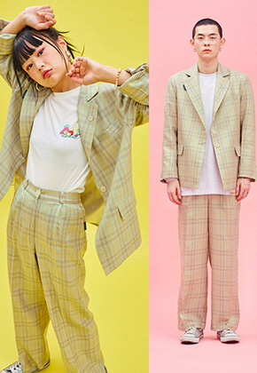NEONMOON네온문 NEONMOON 19SP CHECK PANTS - GREEN
