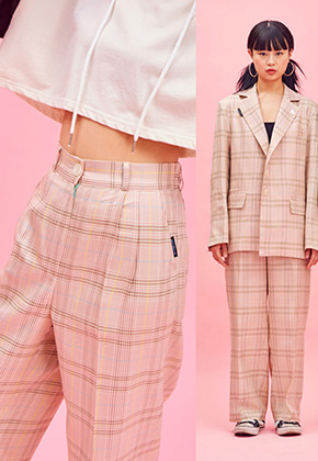 NEONMOON네온문 NEONMOON 19SP CHECK PANTS - PINK
