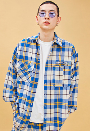 NEONMOON네온문 NEONDUST. 19SP CHECK SHIRT - BLUE YELLOW