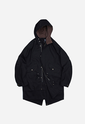 FRIZMWORKS프리즘웍스 Broken twill hooded parka _ black