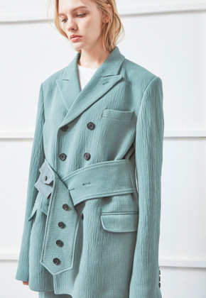 NOHANT노앙 BELTED TAILORED JACKET GREEN