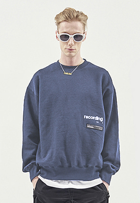 RDVZ RECORDING SWEAT TOP BLUEGREY