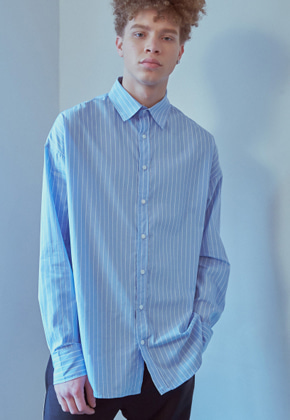 MMGL미니멀가먼츠랩 Semi-oversized shirt (Blue-stripe)