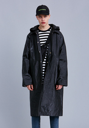Voiebit브아빗 V640 COATING HOOD RAIN COAT  BLACK