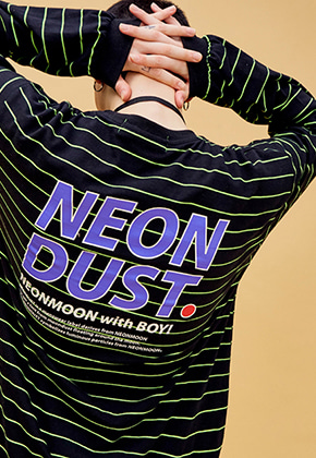 NEONMOON네온문 NEONDUST. 19SP SRIPE T-SHIRT - BLACK