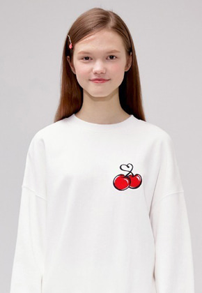 KIRSH키르시 HEART CHERRY SWEATSHIRT IS [WHITE]