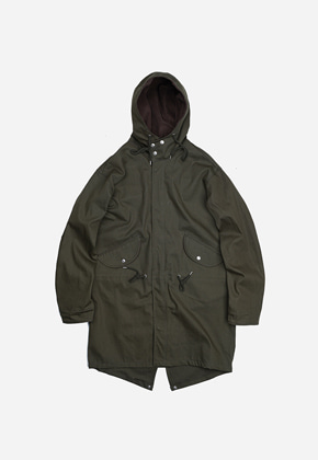 FRIZMWORKS프리즘웍스 Broken twill hooded parka _ olive