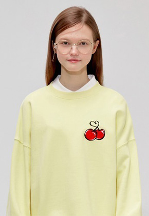 KIRSH키르시 HEART CHERRY SWEATSHIRT IS [YELLOW]