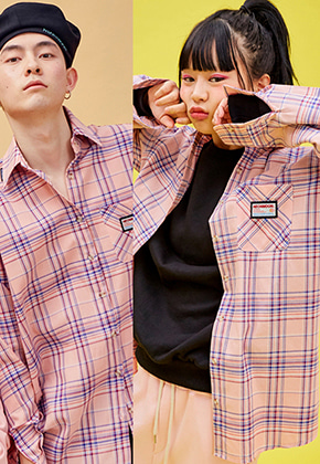 NEONMOON네온문 NEONMOON 19SP CHECK SHIRT - PINK BLUE