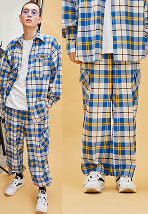 NEONMOON네온문 NEONDUST. 19SP CHECK PANTS - BLUE YELLOW