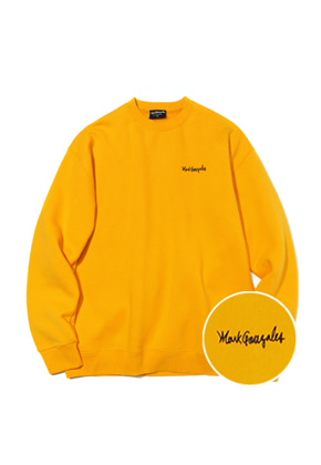 Markgonzales마크곤잘레스 M/G SMALL SIGN LOGO CREWNECK YELLOW
